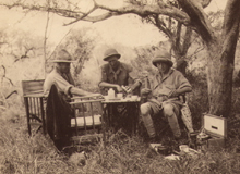 Kenya safari 1931, left  to right, Ray Hewlett, Denys Finch-Hatton, Prince of Wales