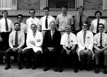 The Surgical Pathology team of Washington University-Barnes Hospital in its golden years. Dr. Lauren Ackerman is sitting at the center. Juan Rosai is sitting at the far left